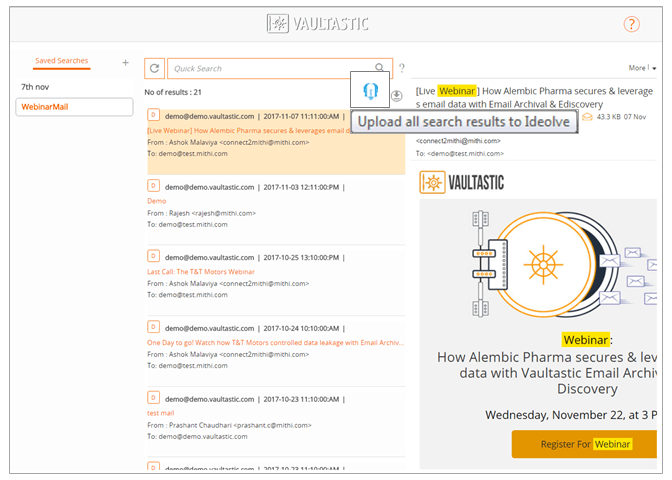 Click the Ideolve icon on a mail or the searched result from your vaultasic e-discovery page