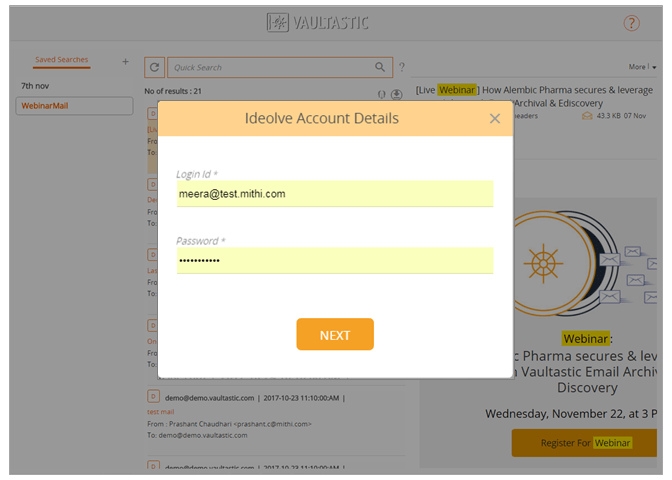 2. Provide your Ideolve credentials for authentication
