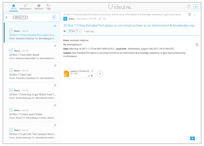 4. For each mail found in the result, create a separate note in your chosen workspace on Ideolve.